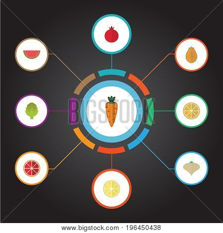 Flat Icons Garnet, Melon Slice, Orange And Other Vector Elements