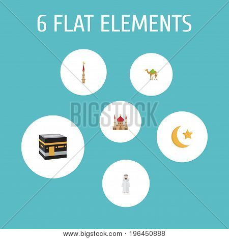 Flat Icons Mosque, Mecca, Dromedary And Other Vector Elements