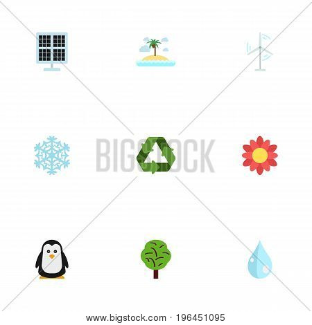 Flat Icons Water, Sun Power, Electric Mill And Other Vector Elements
