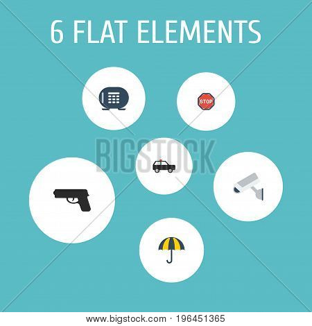 Flat Icons Gun, Parasol, Road Sign And Other Vector Elements