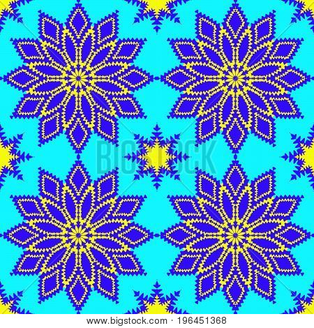Vector floral seamless pattern. On blue background.