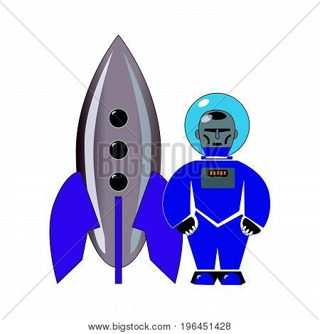 Stylized toy blue astronaut with a rocket. Vector illustration isolated on white background.