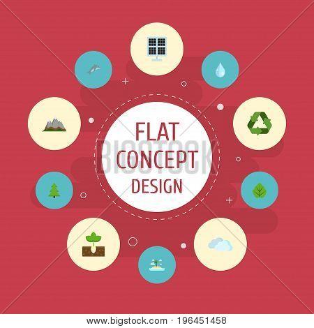 Flat Icons Landscape, Sky, Isle Beach Vector Elements
