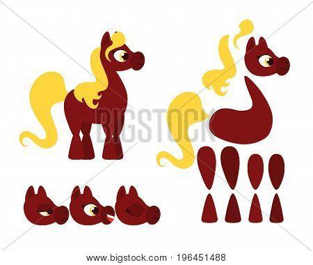 Little horse set for animations. Vector illustration
