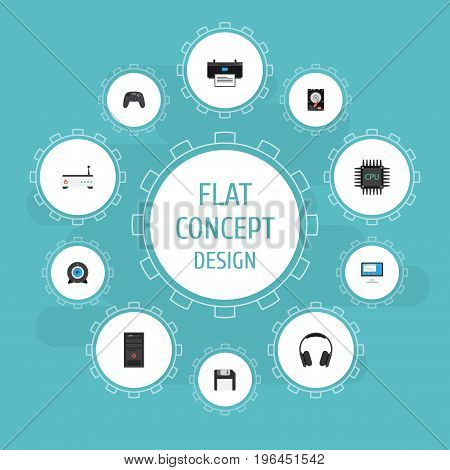 Flat Icons Display, Printer, Router And Other Vector Elements