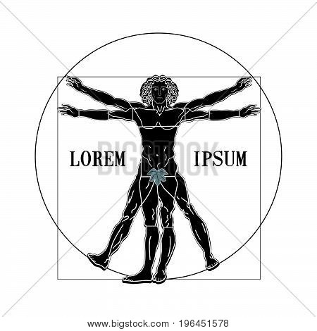 Vitruvian man silhouette symbol on a white background. Vector illustration.