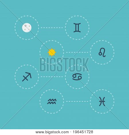 Flat Icons Water Bearer, Fishes, Archer And Other Vector Elements