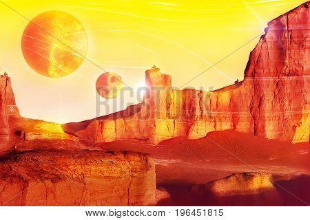 Alien landscape in red tones. Fantastic fairytale concept. Artistic image.