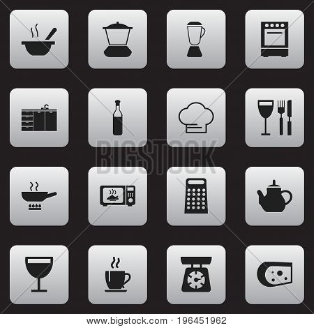 Set Of 16 Editable Cook Icons. Includes Symbols Such As Food Libra, Oven, Bowl And More