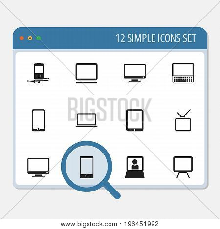 Set Of 12 Editable Instrument Icons. Includes Symbols Such As Computer, Touchscreen, Tv And More