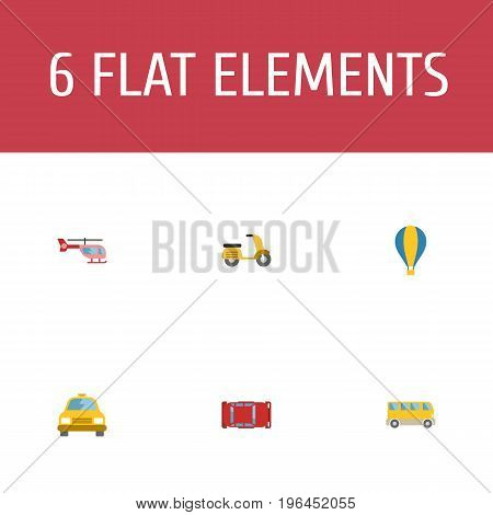 Flat Icons Cab, Scooter, Automotive And Other Vector Elements