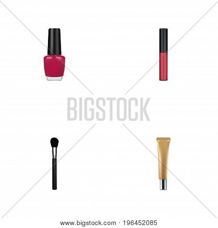 Realistic Beauty Accessory, Collagen Tube, Varnish And Other Vector Elements