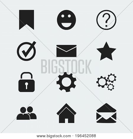 Set Of 12 Editable Network Icons. Includes Symbols Such As Letter, Settings, Security And More