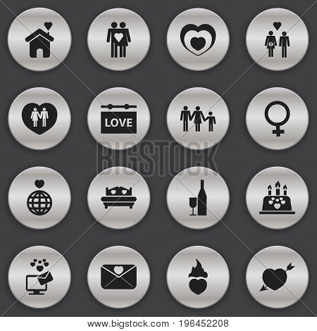 Set Of 16 Editable Heart Icons. Includes Symbols Such As Heartbeat, Affection Letter, Home And More
