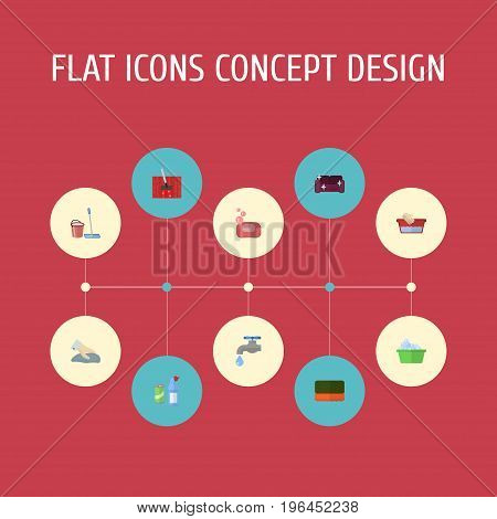 Flat Icons Laundry, Clothes Washing, Wisp And Other Vector Elements