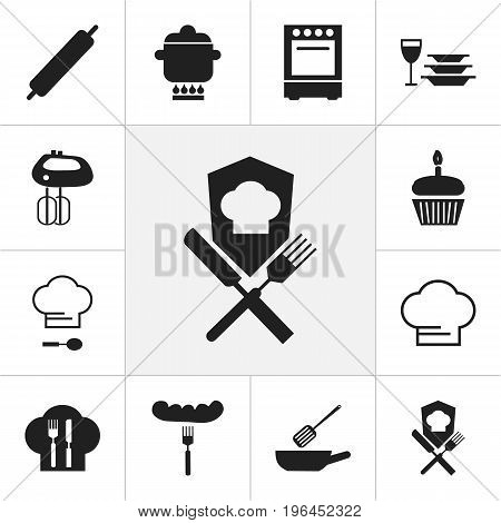 Set Of 12 Editable Restaurant Icons. Includes Symbols Such As Prepare Meal, Whisk, Muffin And More