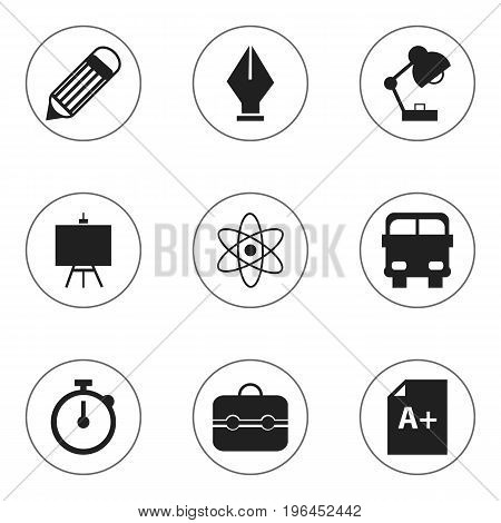 Set Of 9 Editable Education Icons. Includes Symbols Such As Transport Vehicle, Painter's Stand, Eraser