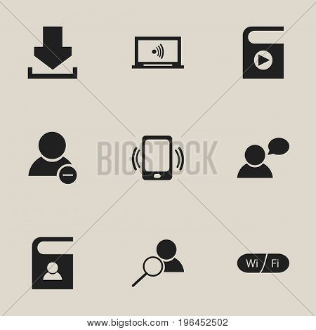 Set Of 9 Editable Network Icons. Includes Symbols Such As Wifi, Telephone Directory, Log In And More
