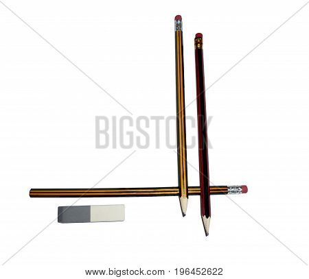 Two pencils with an eraser isolated on a white background