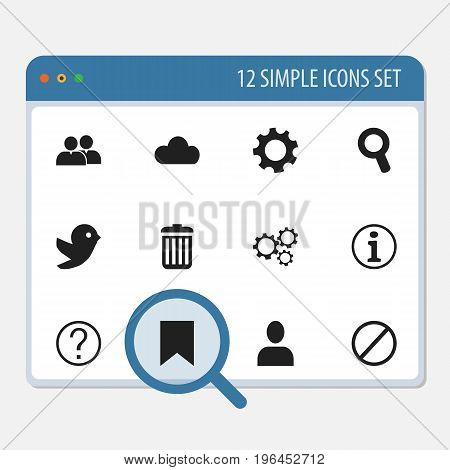 Set Of 12 Editable Network Icons. Includes Symbols Such As Recycle Bin, Gear, Magnifier And More