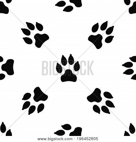 Seamless pattern with black dog track isolated on white background. Animal footprint silhouette. Background with pet track. Vector illustration.
