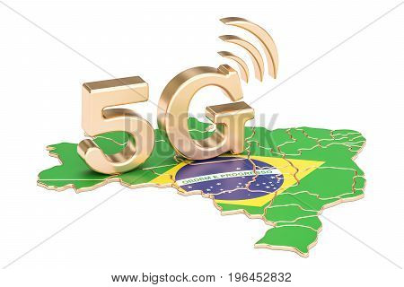 5G in Brazil concept 3D rendering isolated on white background