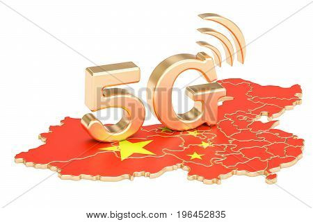 5G in China concept 3D rendering isolated on white background
