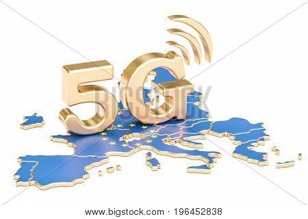 5G in European Union concept 3D rendering isolated on white background