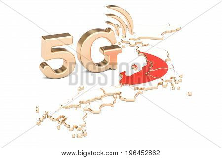 5G in Japan concept 3D rendering isolated on white background
