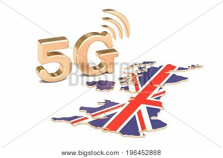 5G in United Kingdom concept 3D rendering isolated on white background