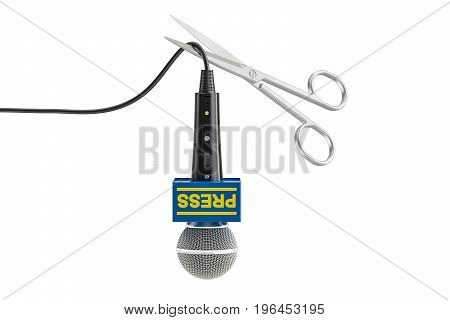 Freedom of speech and of the press prohibition concept. Microphone with scissors 3D rendering