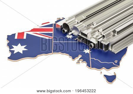 Production and trade of metal products in Australia concept. 3D rendering isolated on white background