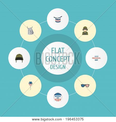 Flat Icons Usa Badge, Decoration, Holiday And Other Vector Elements