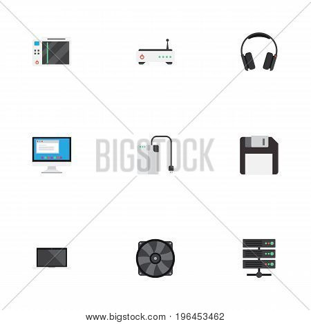 Flat Icons Slot Machine, Earphones, Diskette And Other Vector Elements