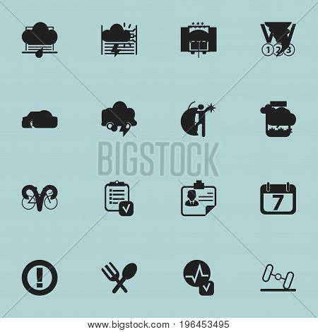 Set Of 16 Editable Complicated Icons. Includes Symbols Such As Medals, Delivery, List And More
