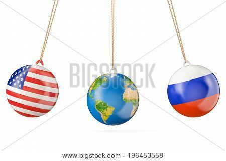 Russia and USA political confrontation concept. 3D rendering isolated on white background