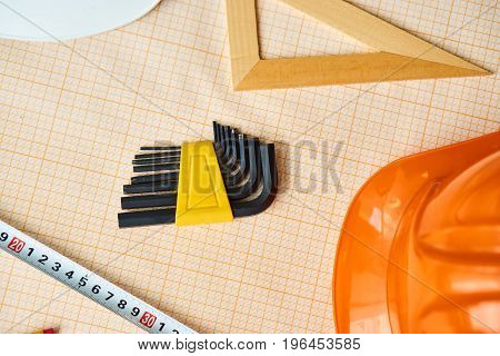 Building materials, tools, helmet, ruler, desktop, ruler.