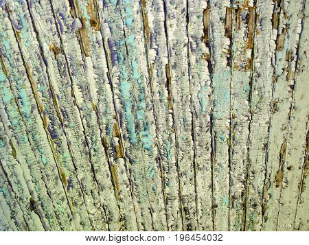 Texture. Flaky paint on ceiling of old wagon in train cemetery