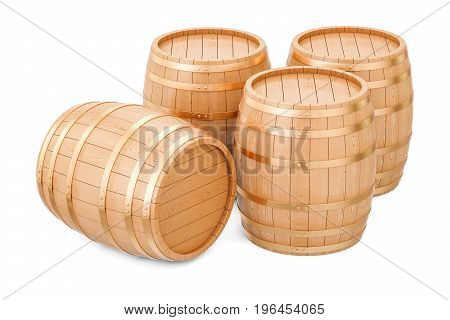Wooden barrels 3D rendering isolated on white background