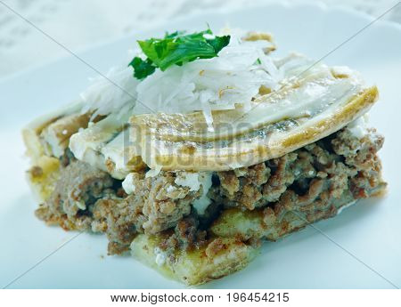 Pastelon - Plantain and Beef Casserole made in Dominican Republic and Puerto Rico. version of lasagna or casserole