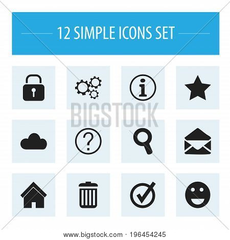Set Of 12 Editable Web Icons. Includes Symbols Such As Gear, Recycle Bin, Sky And More
