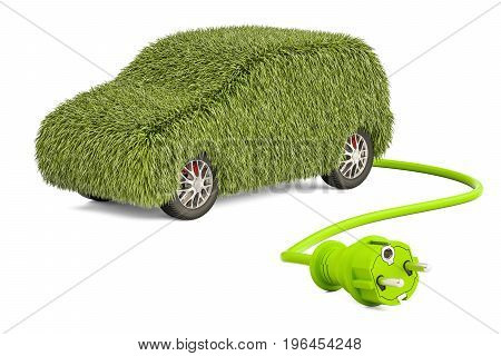 Electric car charging concept. Car from grass with electrical plug 3D rendering isolated on white background