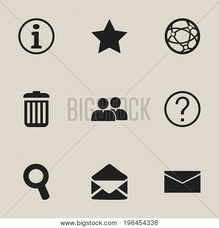 Set Of 9 Editable Web Icons. Includes Symbols Such As Recycle Bin, Magnifier, Bookmark And More