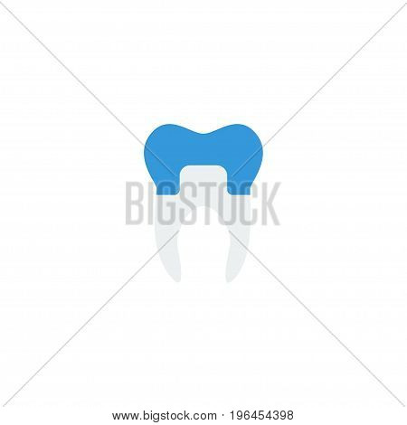 Flat Icon Alumina Element. Vector Illustration Of Flat Icon Dental Crown Isolated On Clean Background