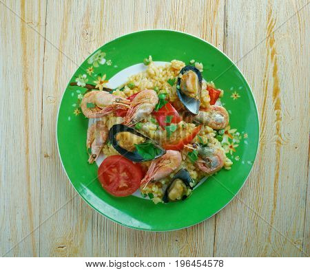 Mexican Dish Prepared With White Rice And Seafood.