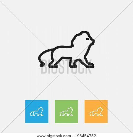 Vector Illustration Of Zoo Symbol On Lion Outline