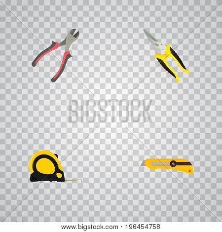 Realistic Length Roulette, Scissors, Forceps And Other Vector Elements