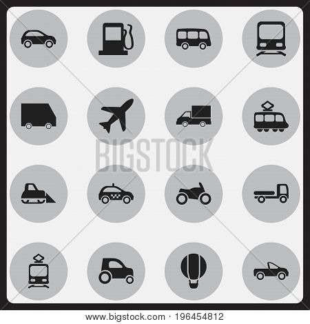 Set Of 16 Editable Transport Icons. Includes Symbols Such As Part Of Car, Tramcar, Streetcar And More