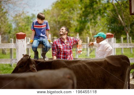 Three Generations Family Of Farmers Laughing In Farm