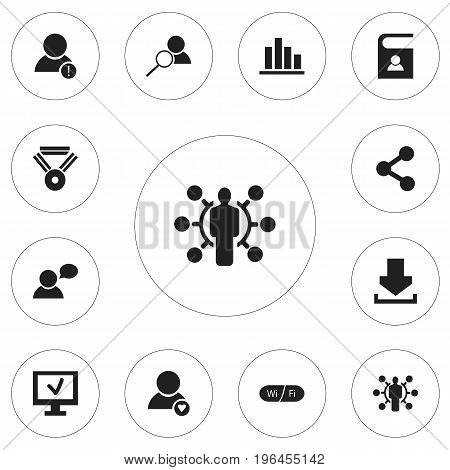 Set Of 12 Editable Global Icons. Includes Symbols Such As Wifi, Thinking Man, Log In And More